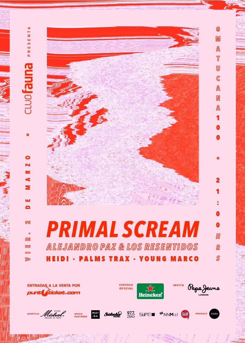 Poster oficial del show de Primal Scream en Chile. Imagen: Fauna Producciones