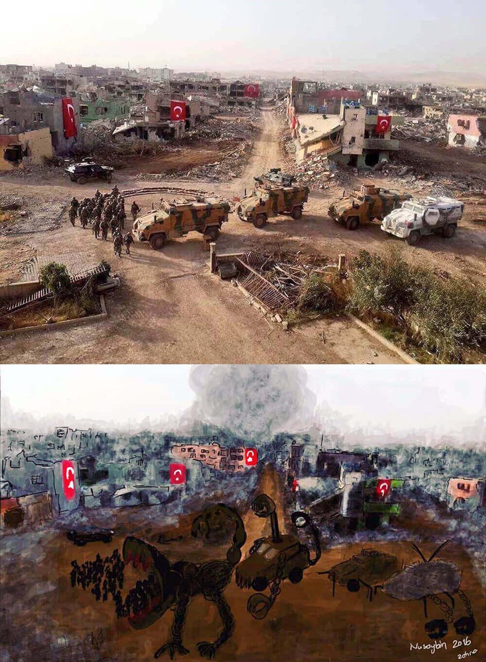 La foto original y la pintura de Zehra Doğan. Imágenes: The Voice Project