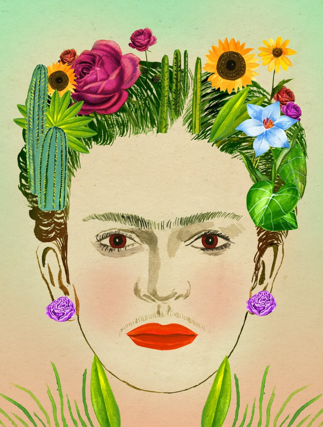 "Frida Kahlo en ""Recipes for Good Luck: The Superstitions, Rituals, and Practices of Extraordinary People"". Ilustración: Ellen Weinstein"