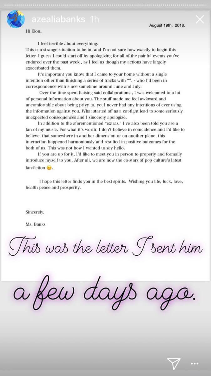 La carta que aparentemente Azealia le envió a Musk disculpándose por todo lo ocurrido. Imagen: Azealia Banks/Instagram