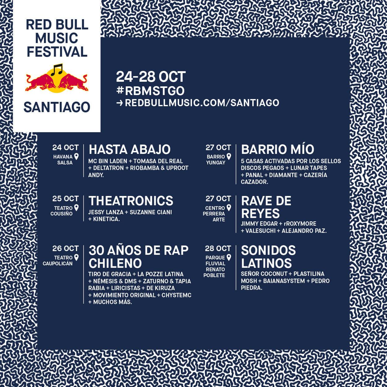 Poster oficial del lineup del Red Bull Music Festival Santiago 2018. Imagen: Red Bull