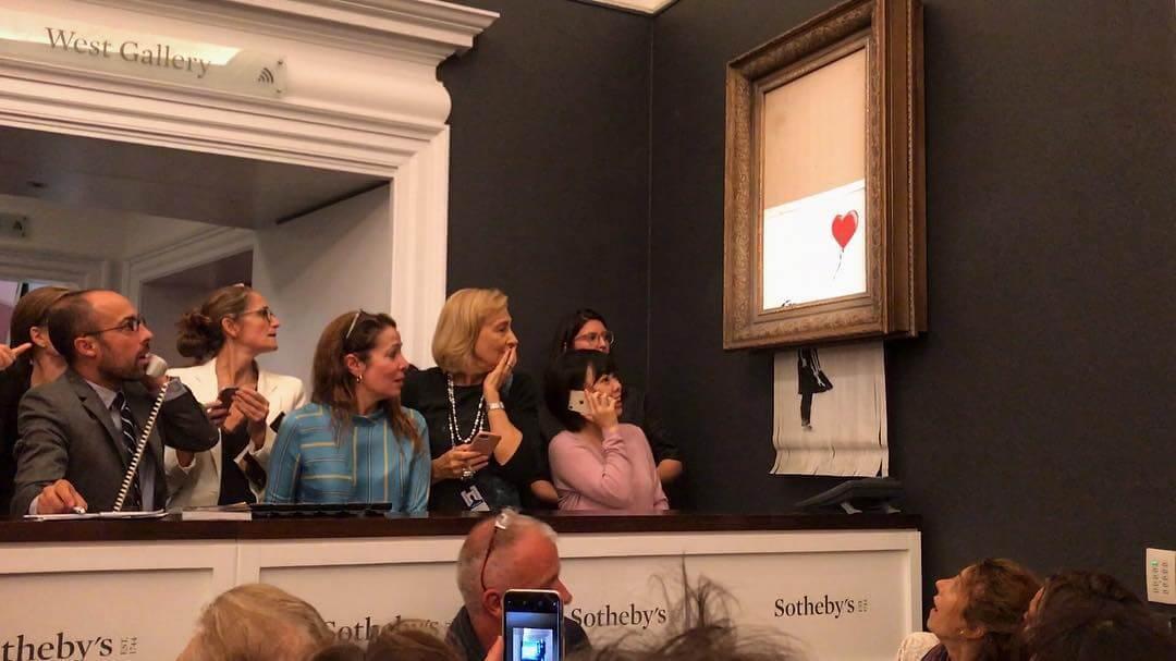 Esta obra de Banksy se autodestruyó luego de subastarse por 1,4 millones de dólares