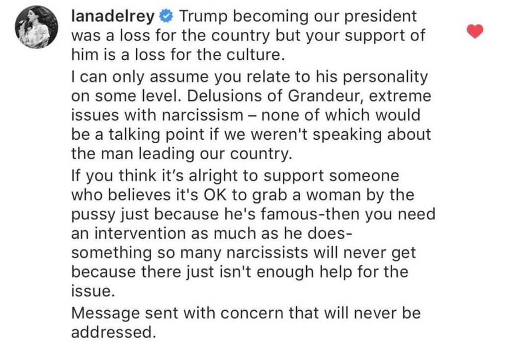 Captura del mensaje dejado por Lana Del Rey en el Instagram de KJanye West. Imagen: Instagram
