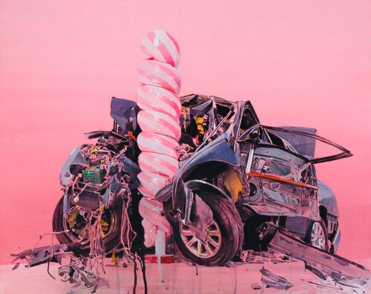 «Desfiguración», la exposición abstracta en cotton candy del artista chileno Fernando Gómez Balbontín