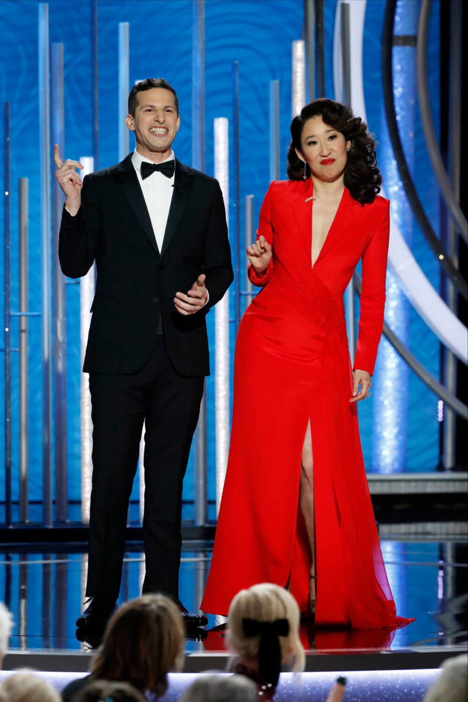 Andy Samberg y Sandra Oh. Imagen: Getty
