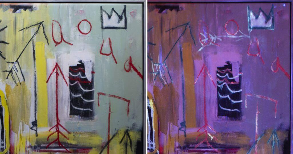 Así fue como Jean-Michel Basquiat escondió dibujos en su trabajo con pintura UV