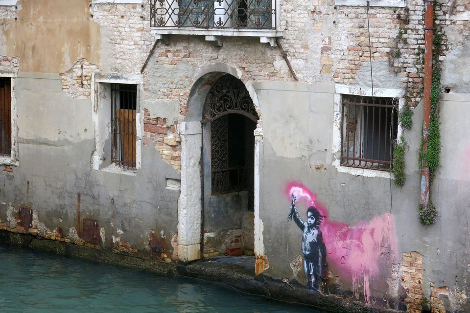 El supuesto Banksy en Venecia. Fotografía: The Art Newspaper