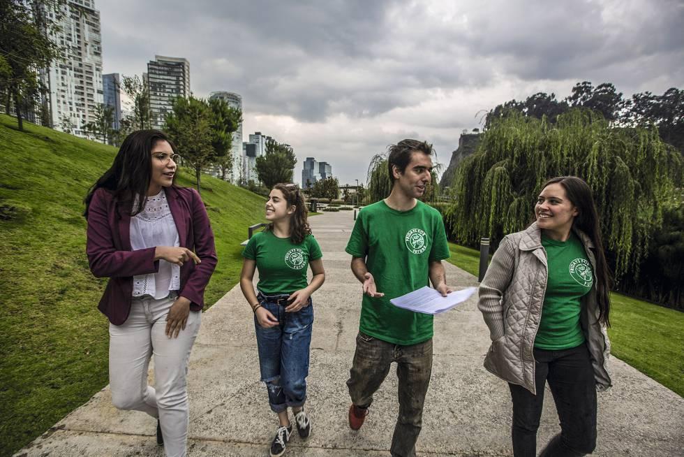 Los jóvenes activistas mexicanos. Fotografía: Héctor Guerrero