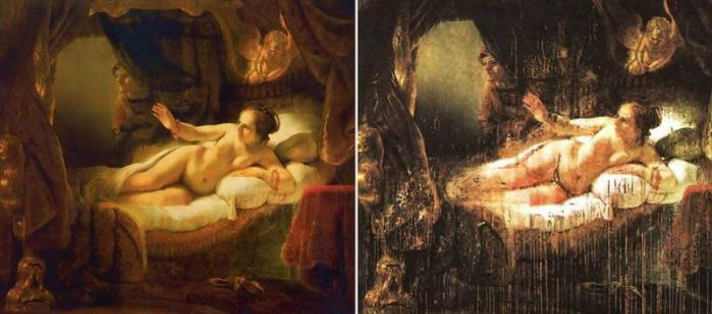 """La """"Danae"""" de Rembrandt, antes y después del ataque. Fotografía: Artchive"""