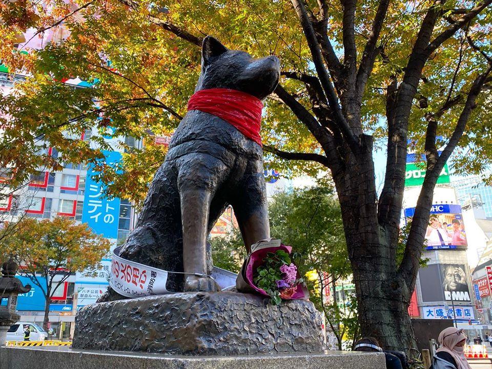 Un pañuelo rojo fue puesto en la estatua de Hachiko en Japón en homenaje al Negro Matapacos