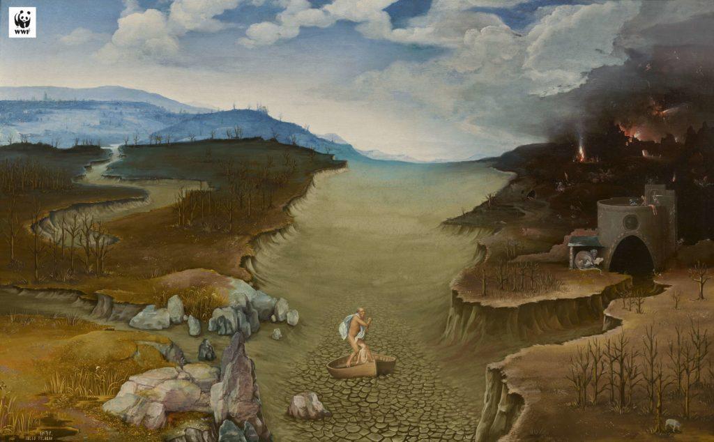 """Joachim Patinir """"El paso de la laguna Estigia (Paisaje con Charon cruzando el Styx)"""" (c. 1515-1524). Foto: Museo de Prado/Art Net"""