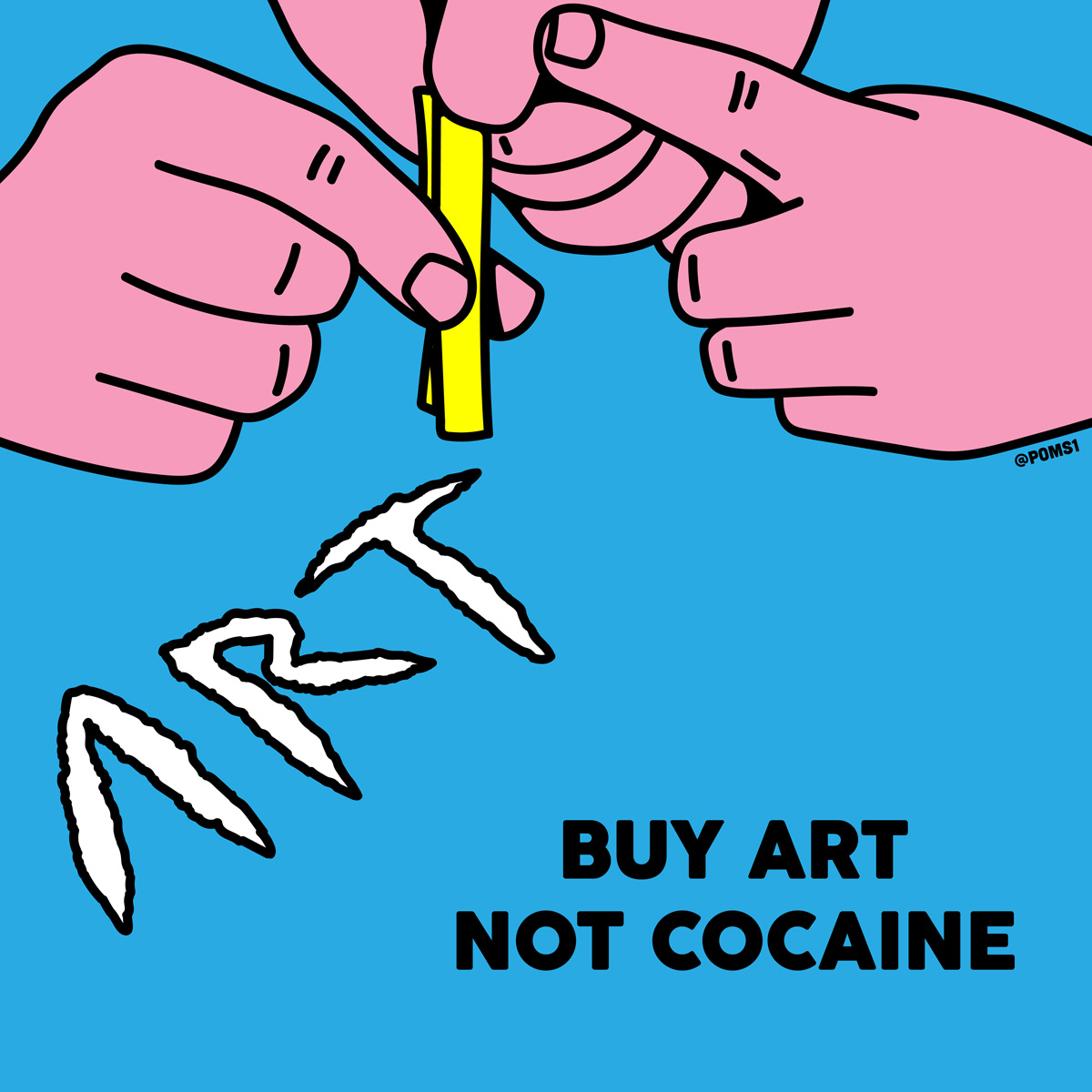 """Buy Art"". Ilustración: Poms"