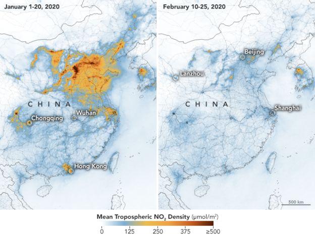 Los níveles de contaminación en China. Fotografía: NASA