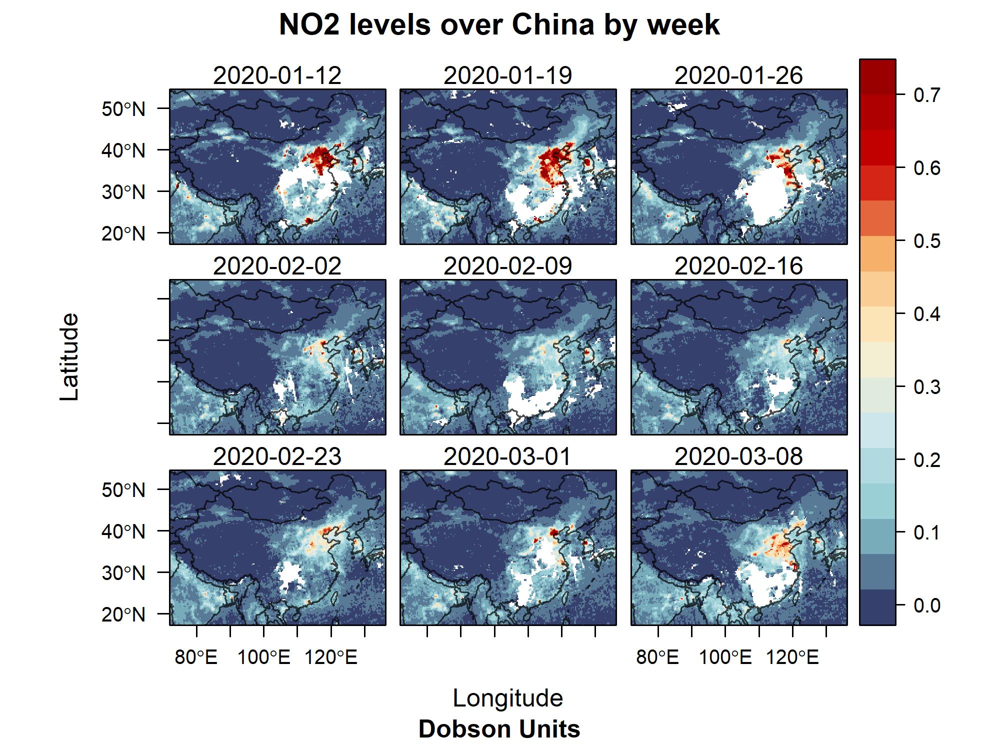 Comportamiento en los niveles de Dióxido de Nitrógeno en China entre enero y marzo de 2020. Fotografía: Twitter @CREACleanAir