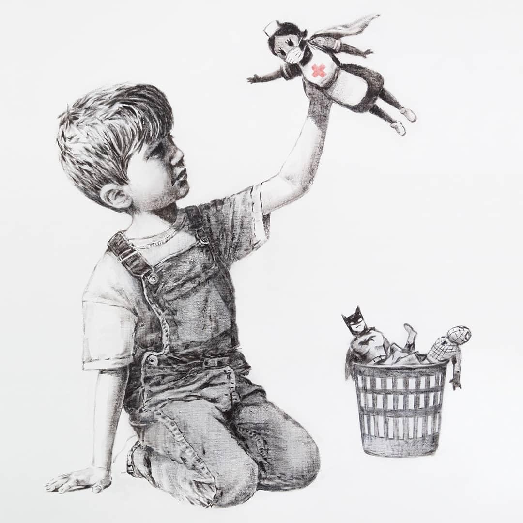 Banksy devela nuevo mural homenajeando a las enfermeras como las superheroínas de la pandemia