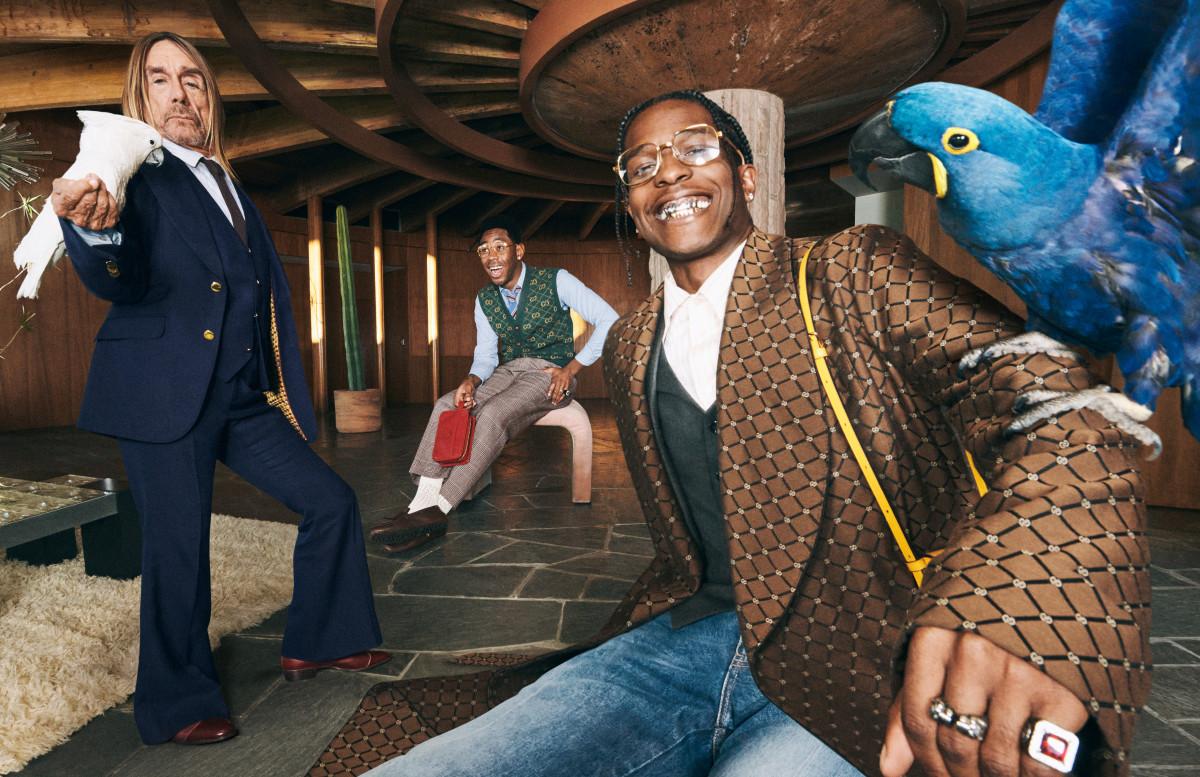 A$AP Rocky, Tyler, The Creator e Iggy Pop en la nueva campaña de Gucci. Fotografía: Harmony Korine