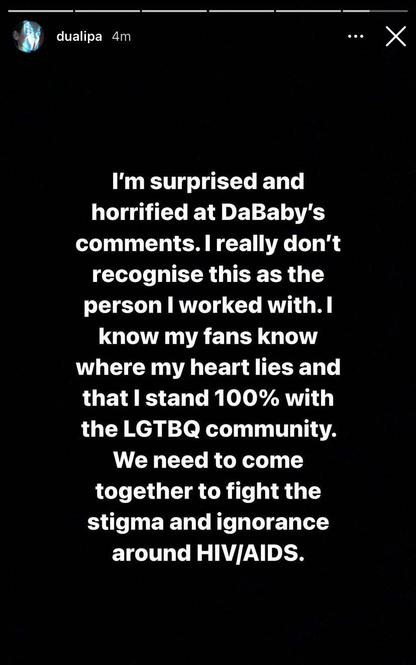 Las declaraciones de Dua Lipa. Fotografía: Instagram @dualipa