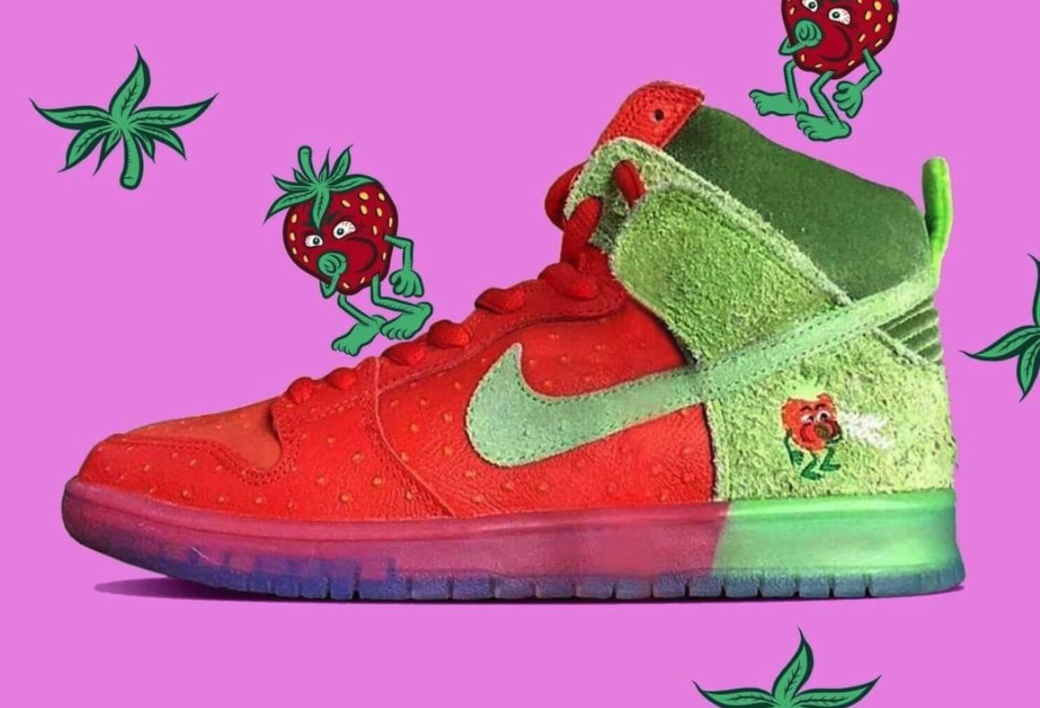 "Las zapatillas Nike SB Dunk High ""Strawberry Cough"" celebran la marihuana con una fresa volada"